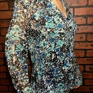 New York & Company Womens Blouse Multicolor Size S